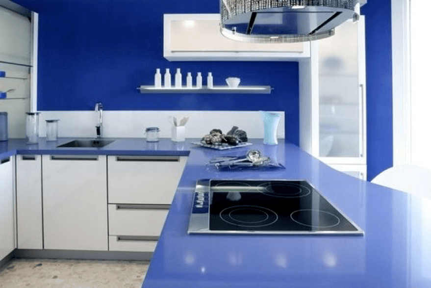 Blue stone countertop in kitchen