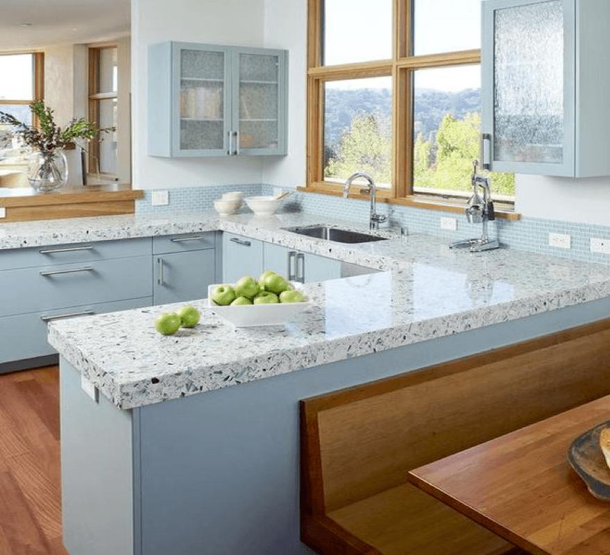 Beautiful quartz kitchen cabinet