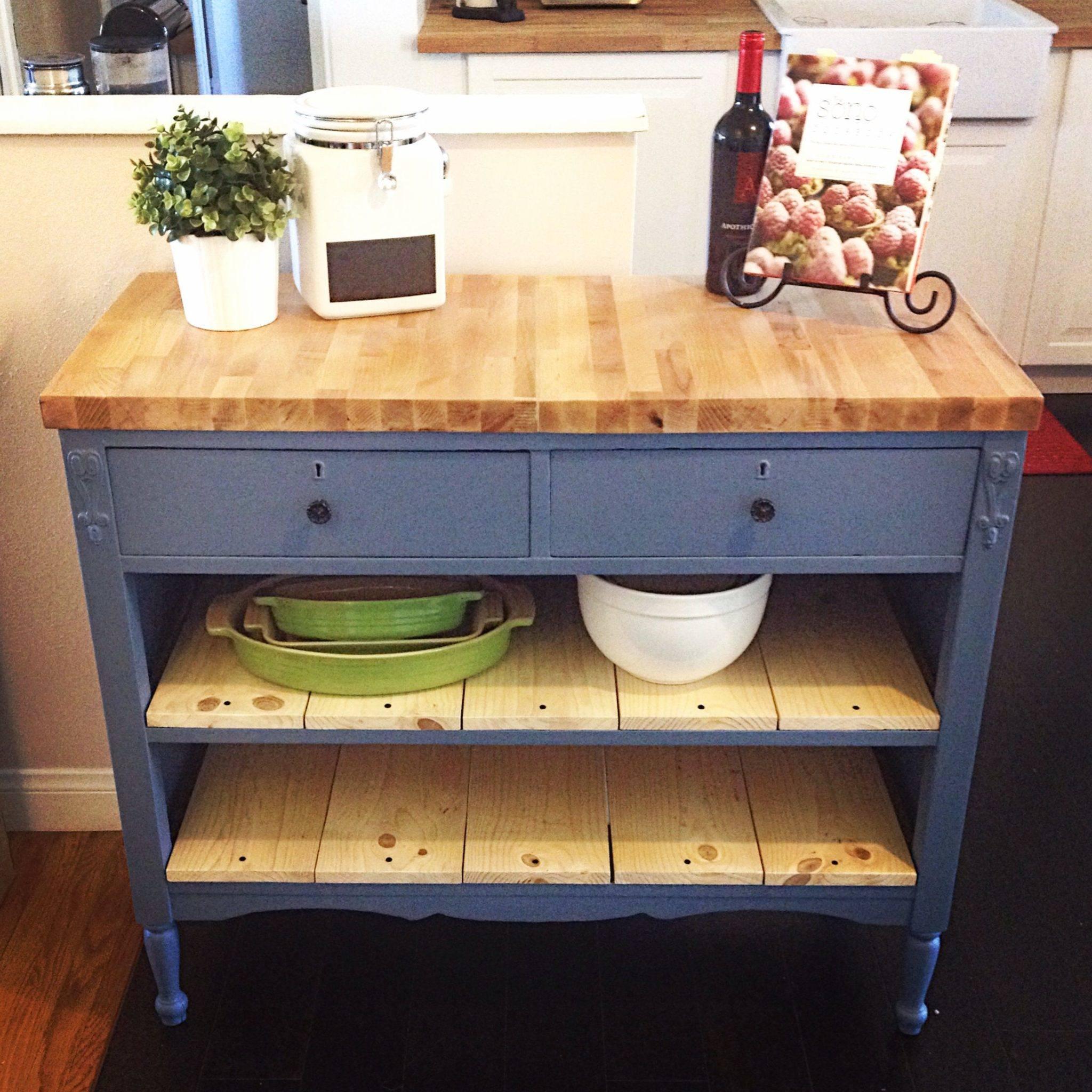 An Old Dresser Into A Kitchen Island