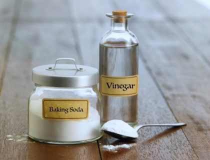 Containers of baking soda and vinegar