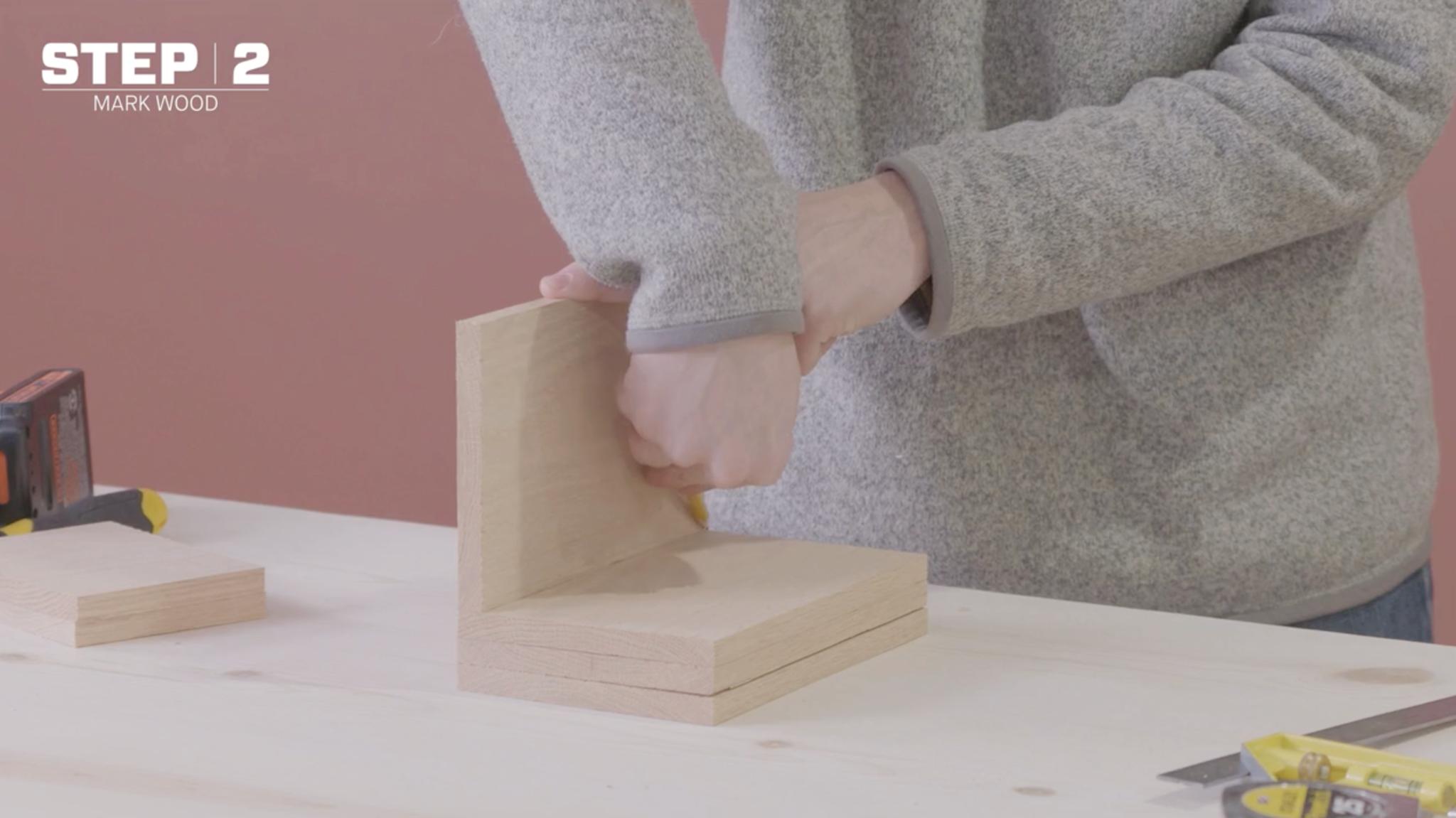 Mark wood for your DIY liquor dispenser