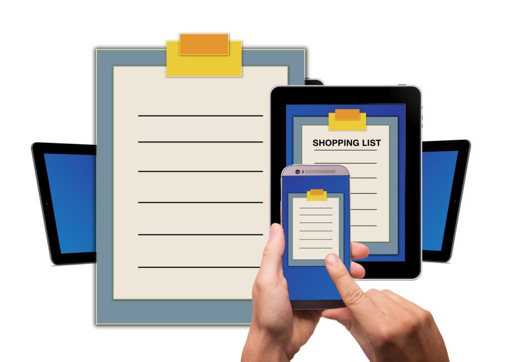 Shopping list on iPhone, iPad and clip board