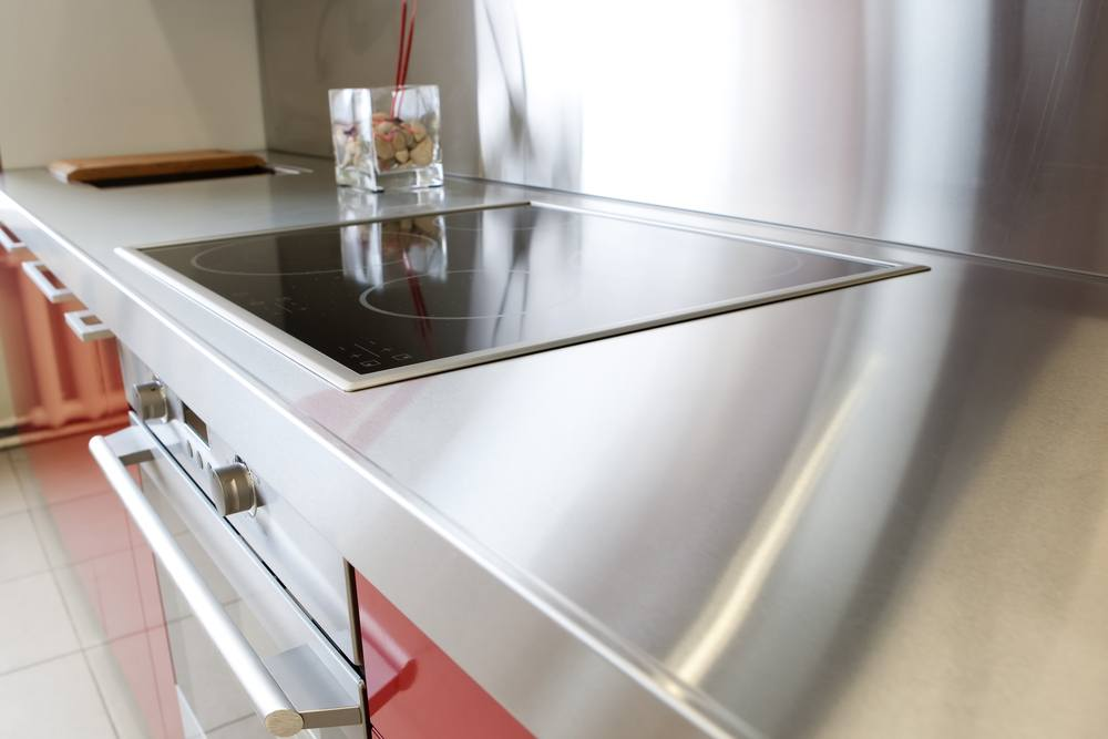 Stainless steel countertop in an eco-friendly kitchen