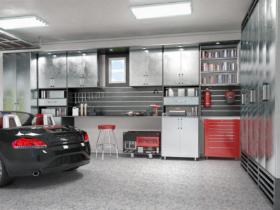 Remodeled garage with floor and cabinets