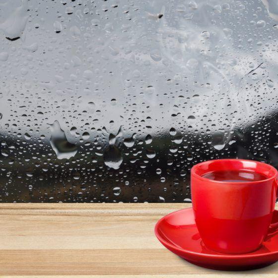 Moisture droplets on window