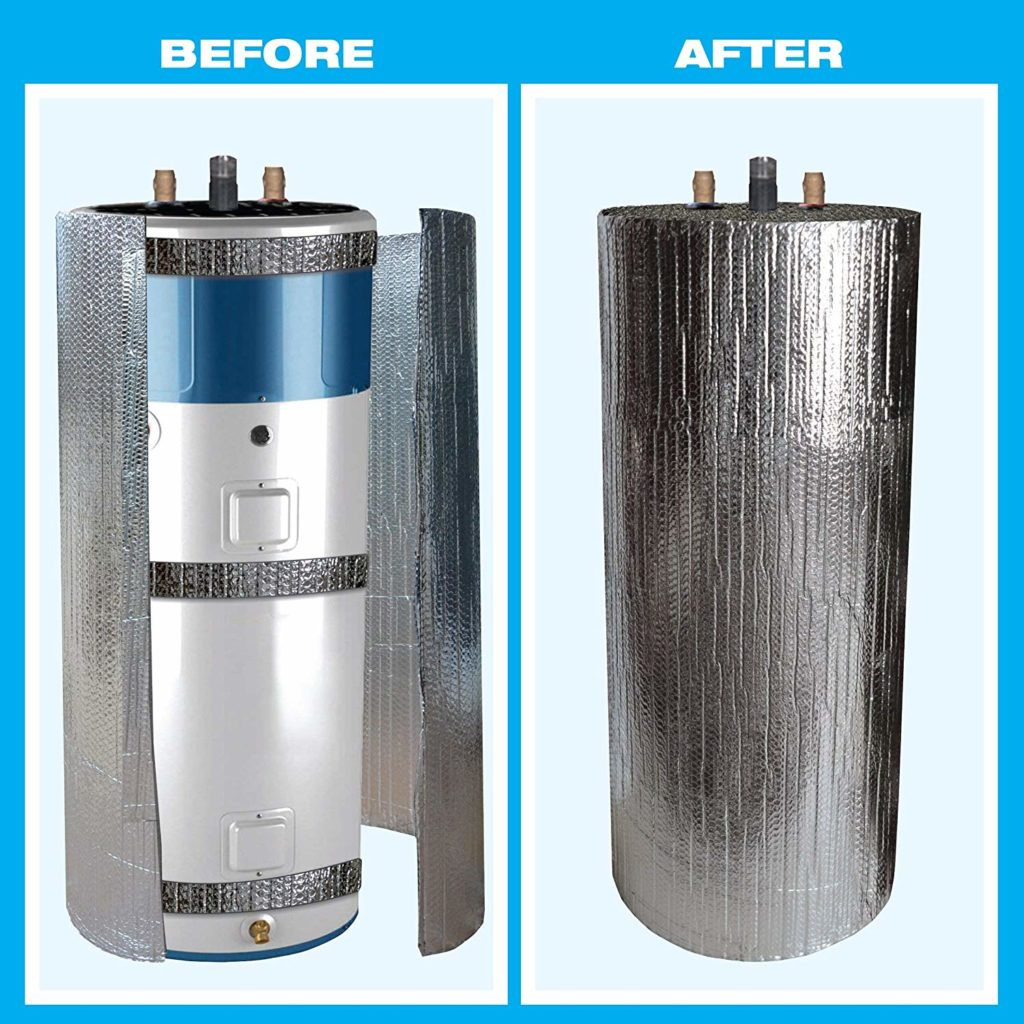 Before and after photo of a water heater insulation jacket