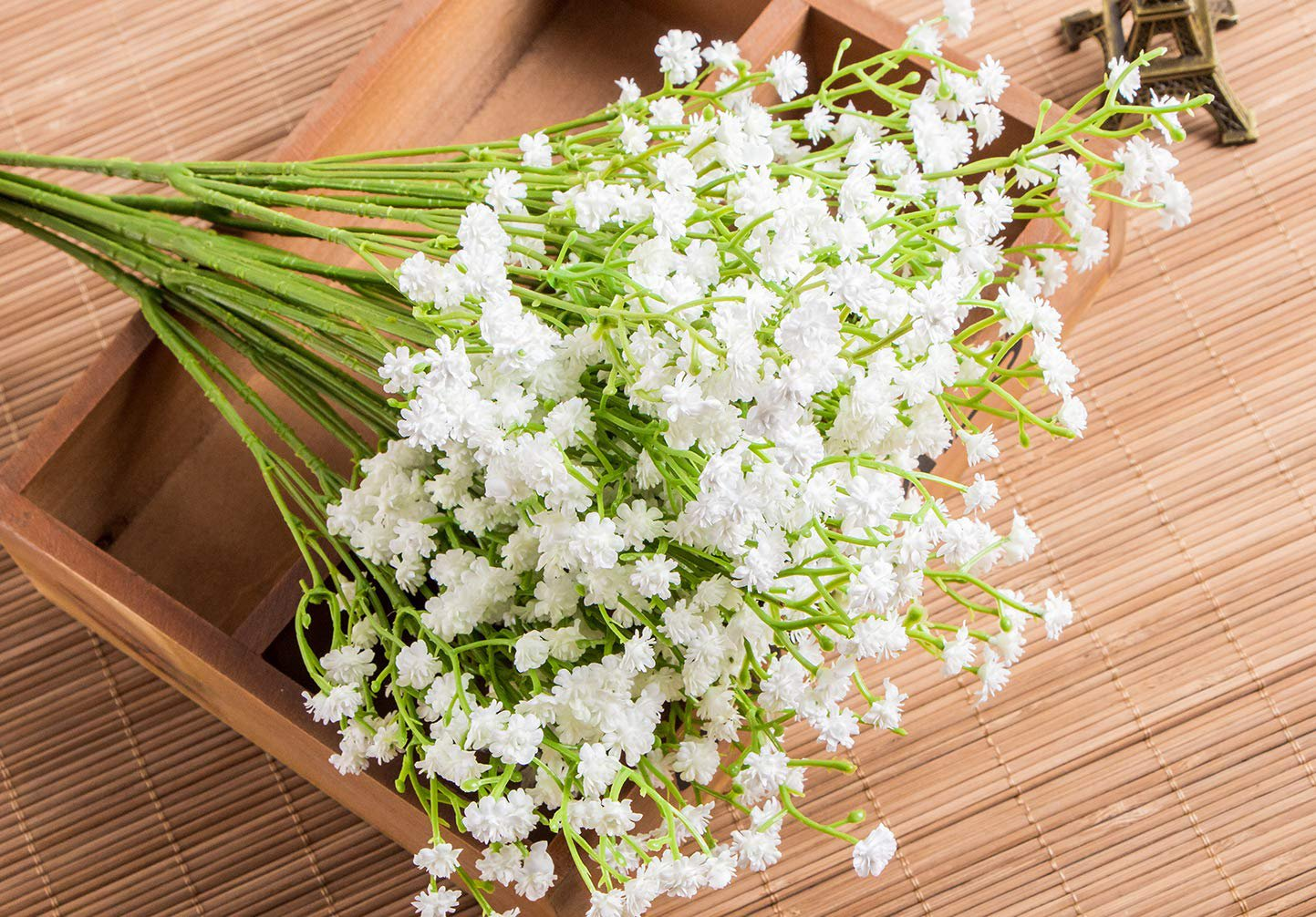 Artificial, fake, baby's breath flowers on table