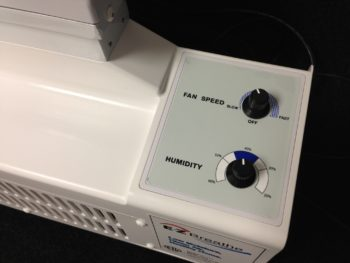 Close up of the EZ Breath variable fan speed and humidity controls