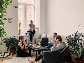 Young people in apartment