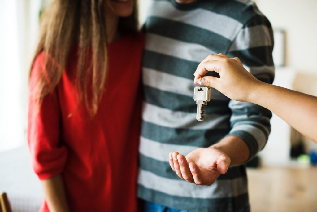 Couple getting house keys