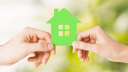 two hands holding small green home puzzle