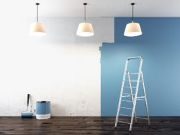 Blue painted walls with ladder