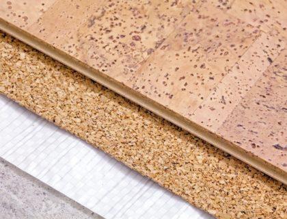 Natural flooring including cork