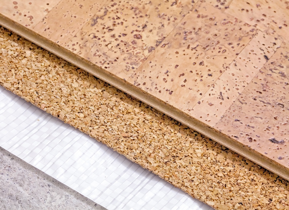 Natural flooring including cork