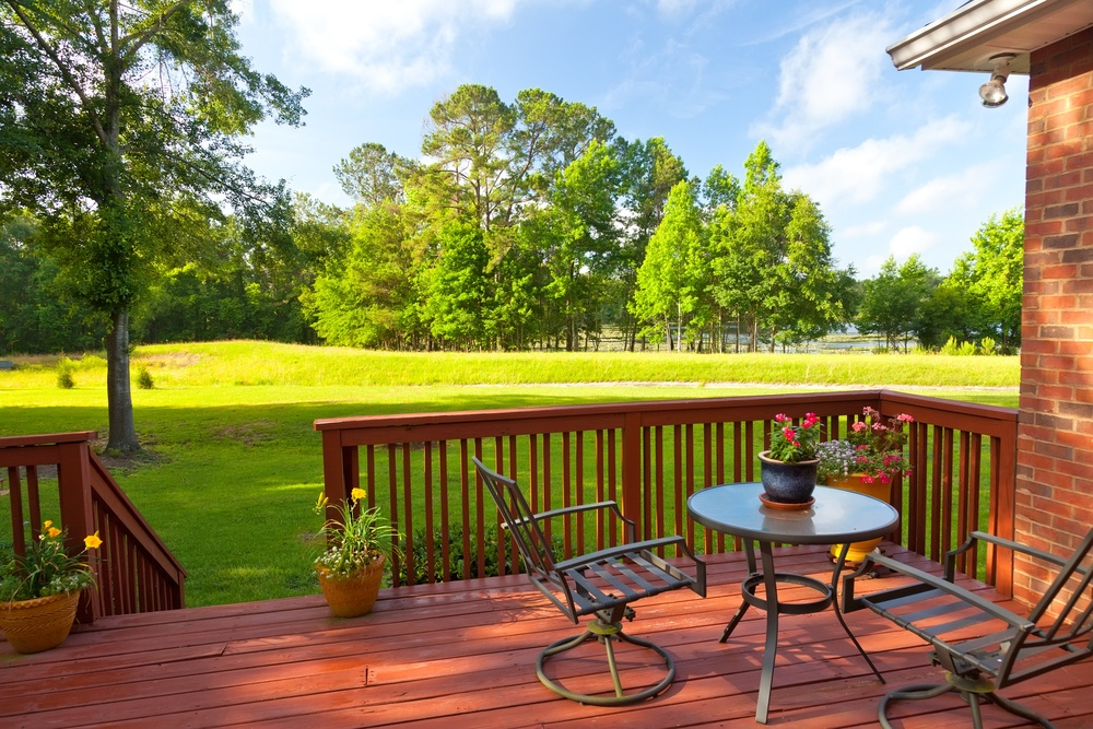 Deck and green lawn