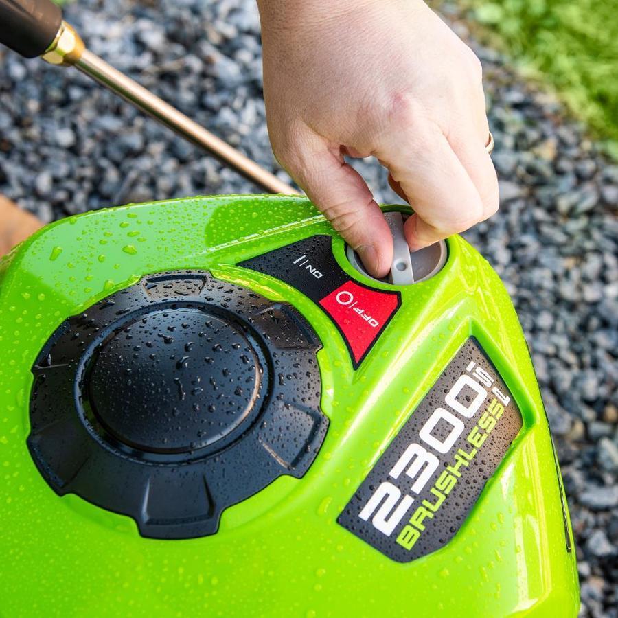 GReenworks pressure washer start button