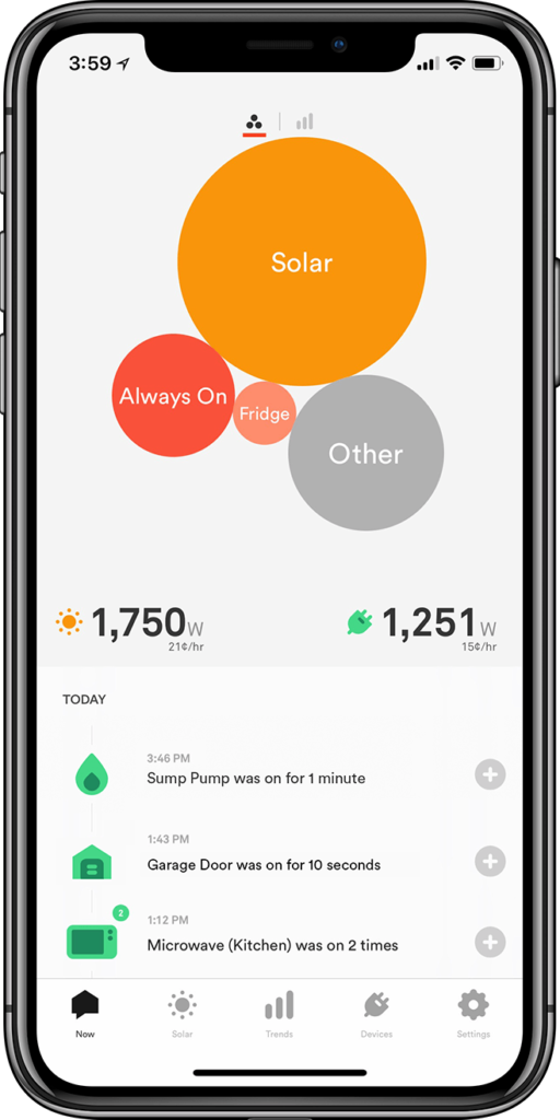 Sense app showing how much solar energy is generated.