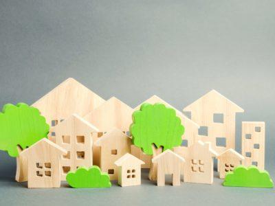 Miniature green house neighborhood