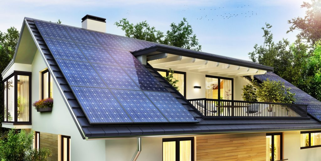 Solar panels on home