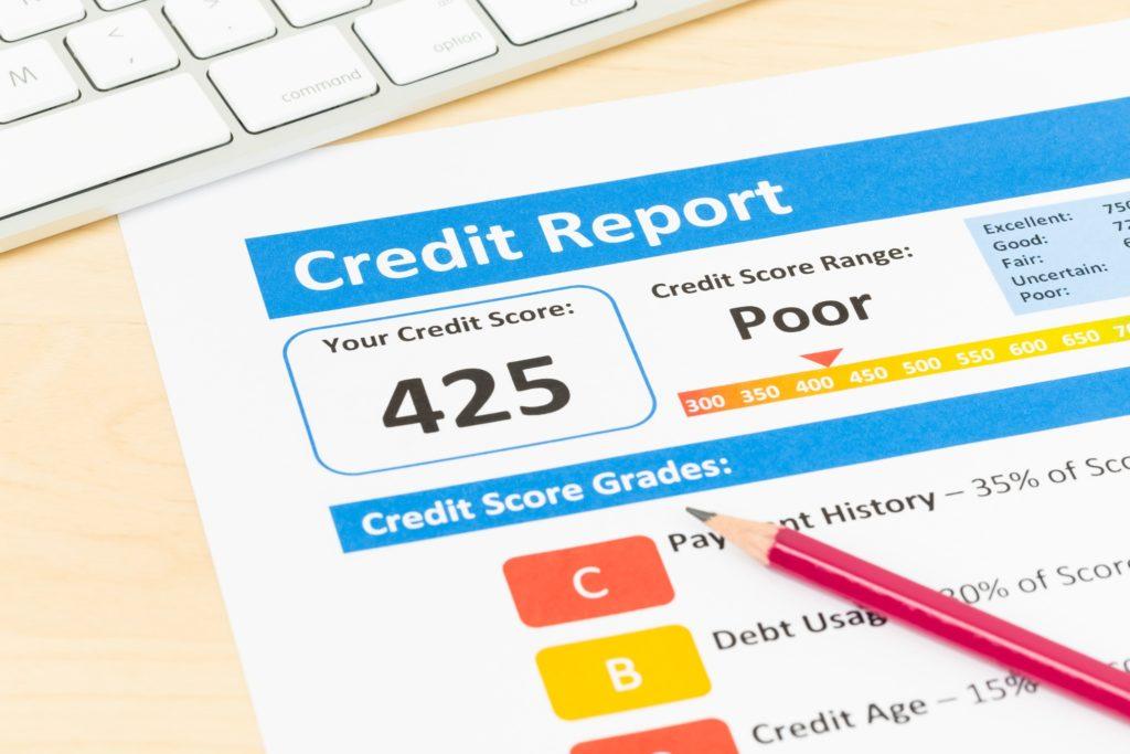 Sample poor credit report