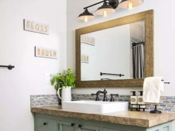 Bathroom with a lighting over vanity