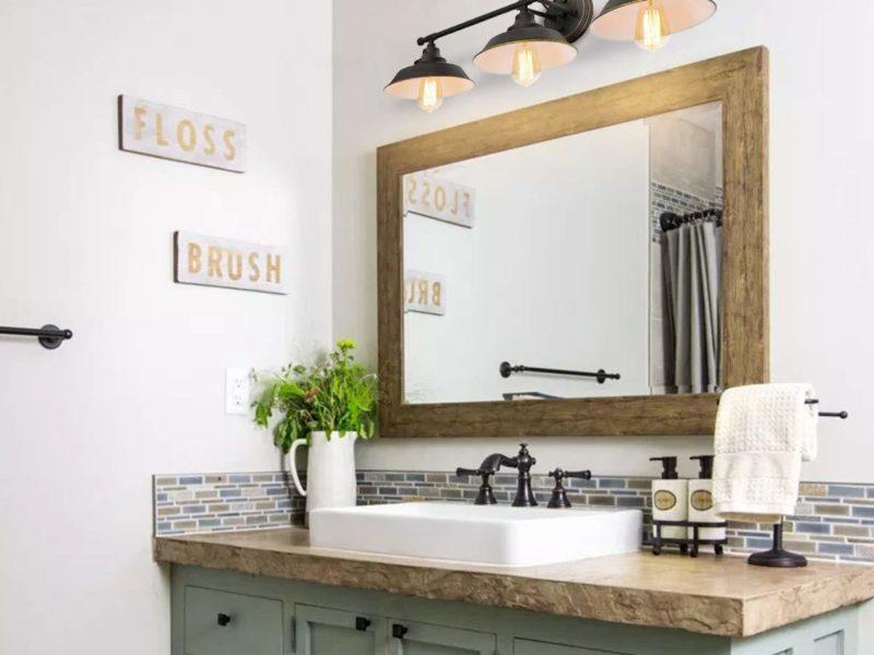 Bathroom with a lighting over vanity