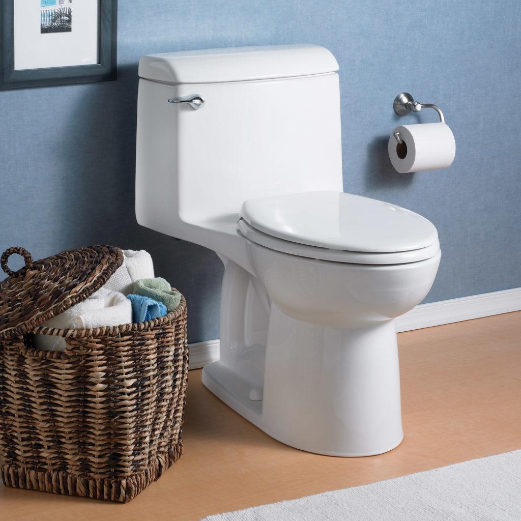 Toilet in blue bathroom