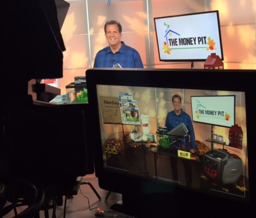 Host on TV set