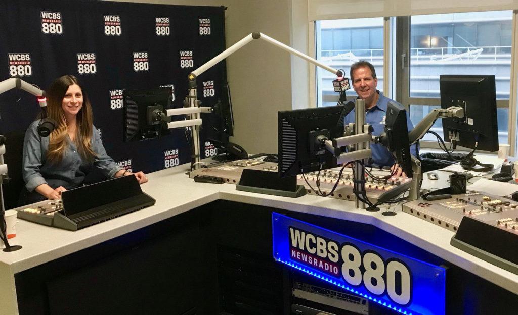 Tom Kraeutler and Leslie Segrete in WCBS Studios NYC