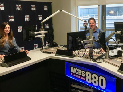 Tom Kraeutler and Leslie Segrete in WCBS Studios NYC