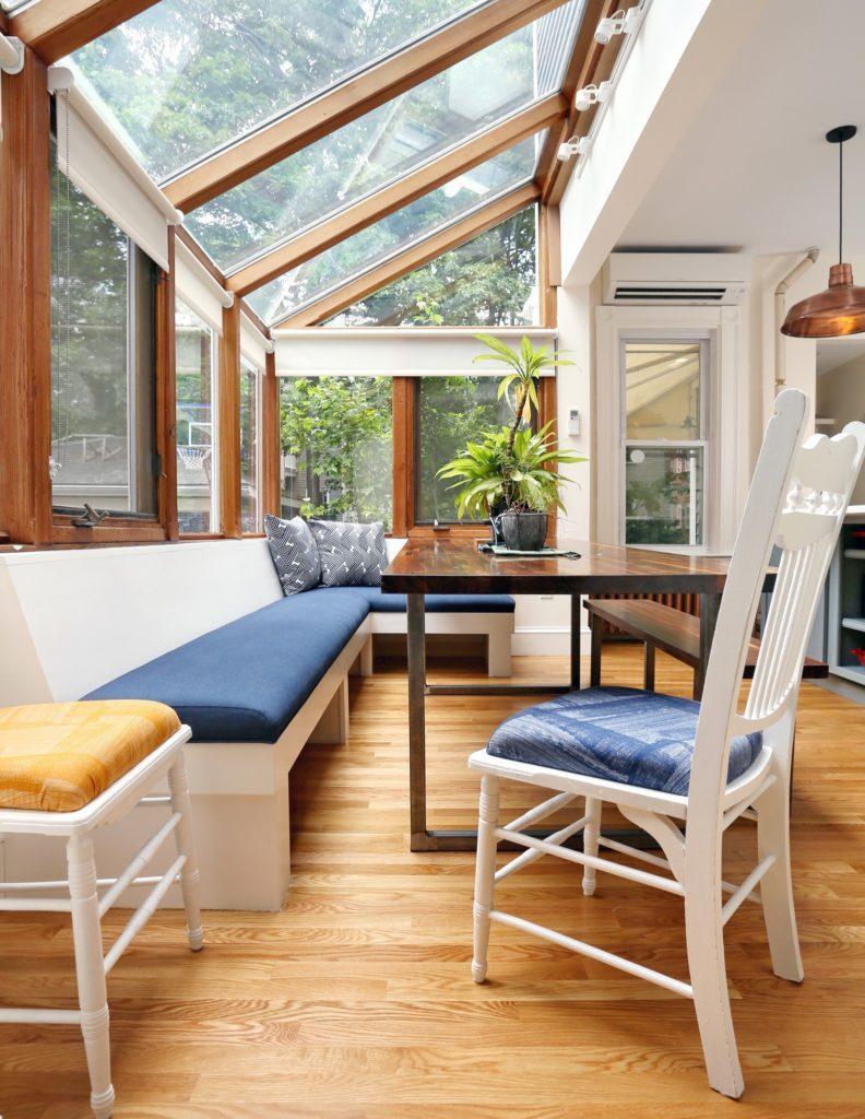 Sunroom with hardwood floor