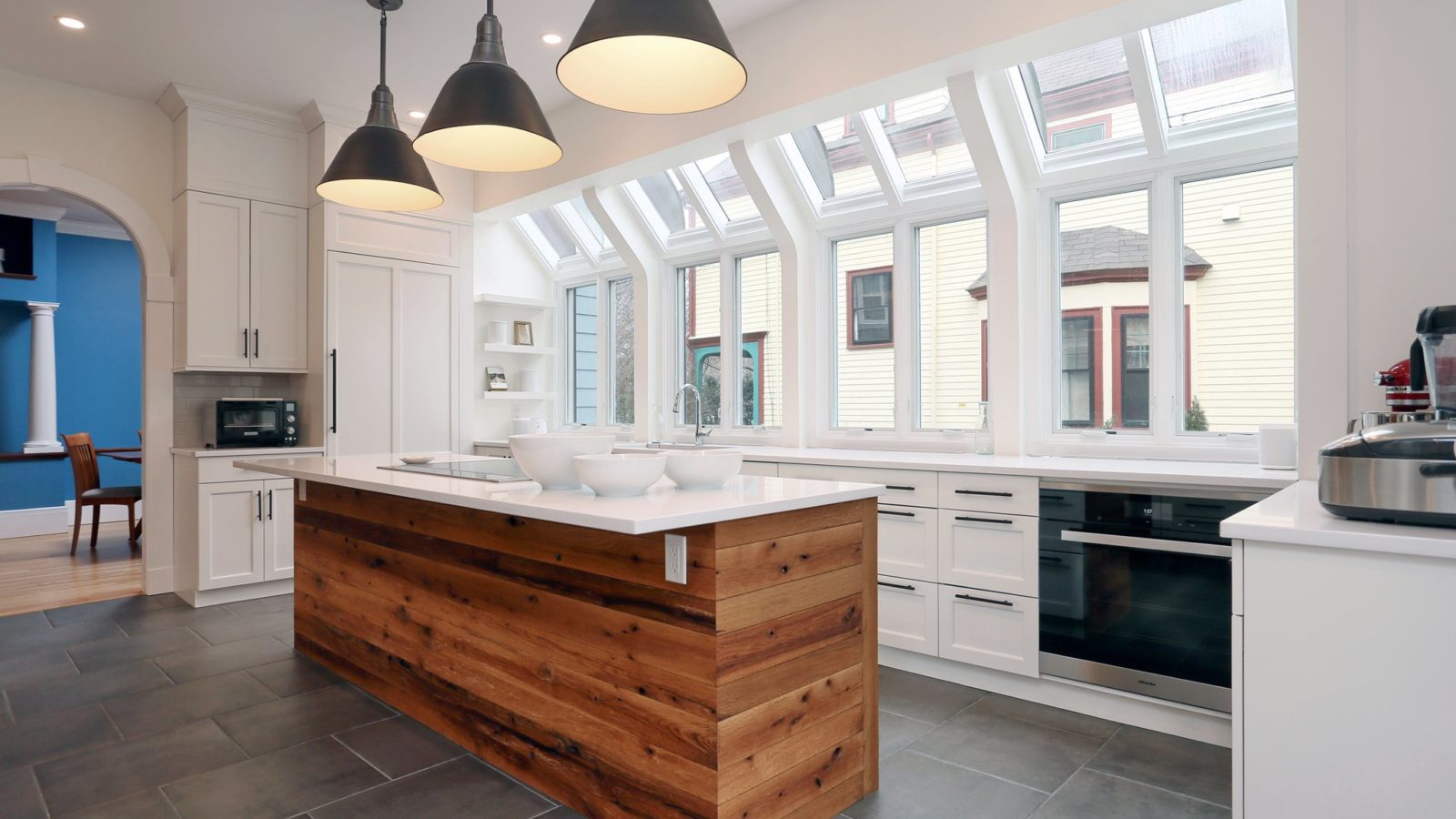 modern kitchen with bright windows