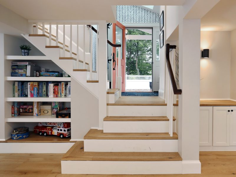 Painted wood staircase