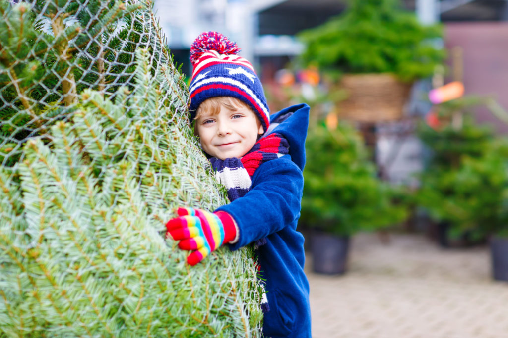 Small boy hugging a christmas tree