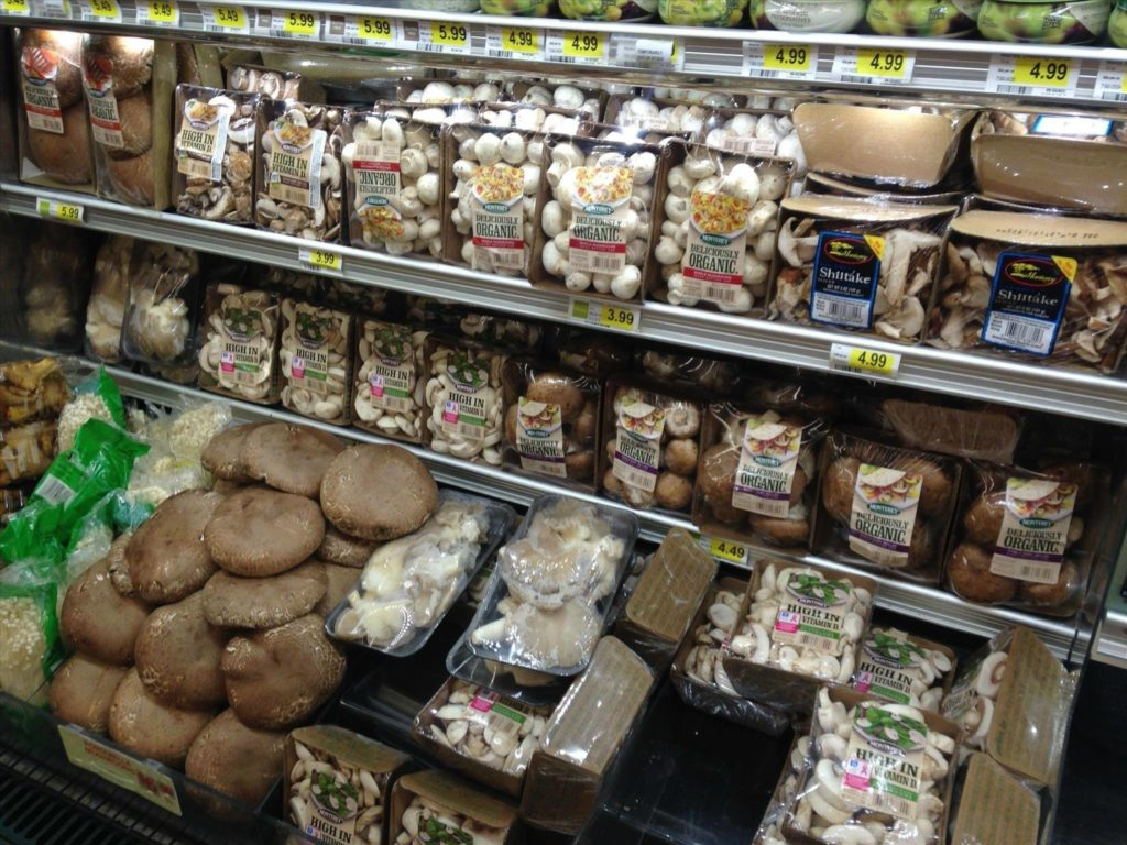 Mushrooms displayed on shelf of a market
