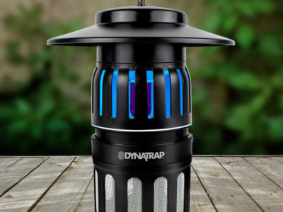 DynaTrap mosquito trap on wood deck