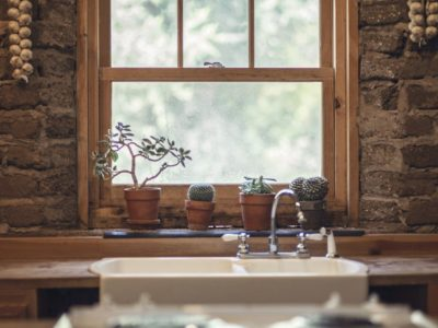Farmhouse window with plants on sill