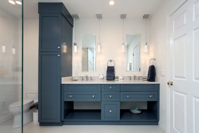 Master bath with painted vanity cabinets