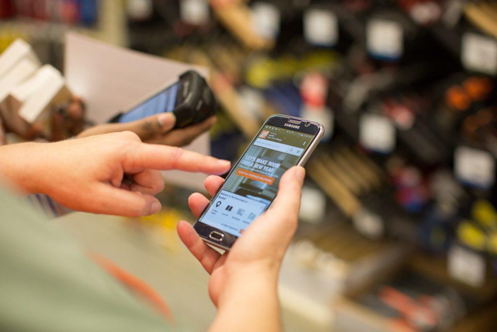 Shopper in Home Depot  using app