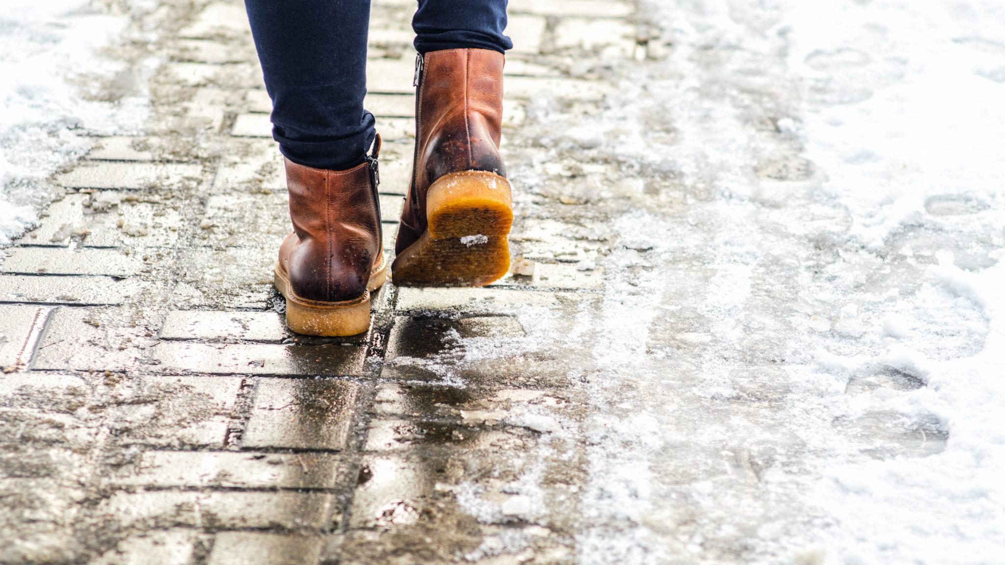 icy sidewalks, winter hazzard