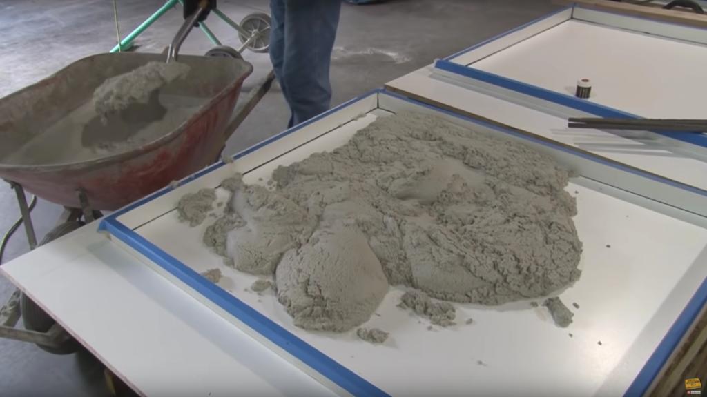 Filling a concrete countertop form