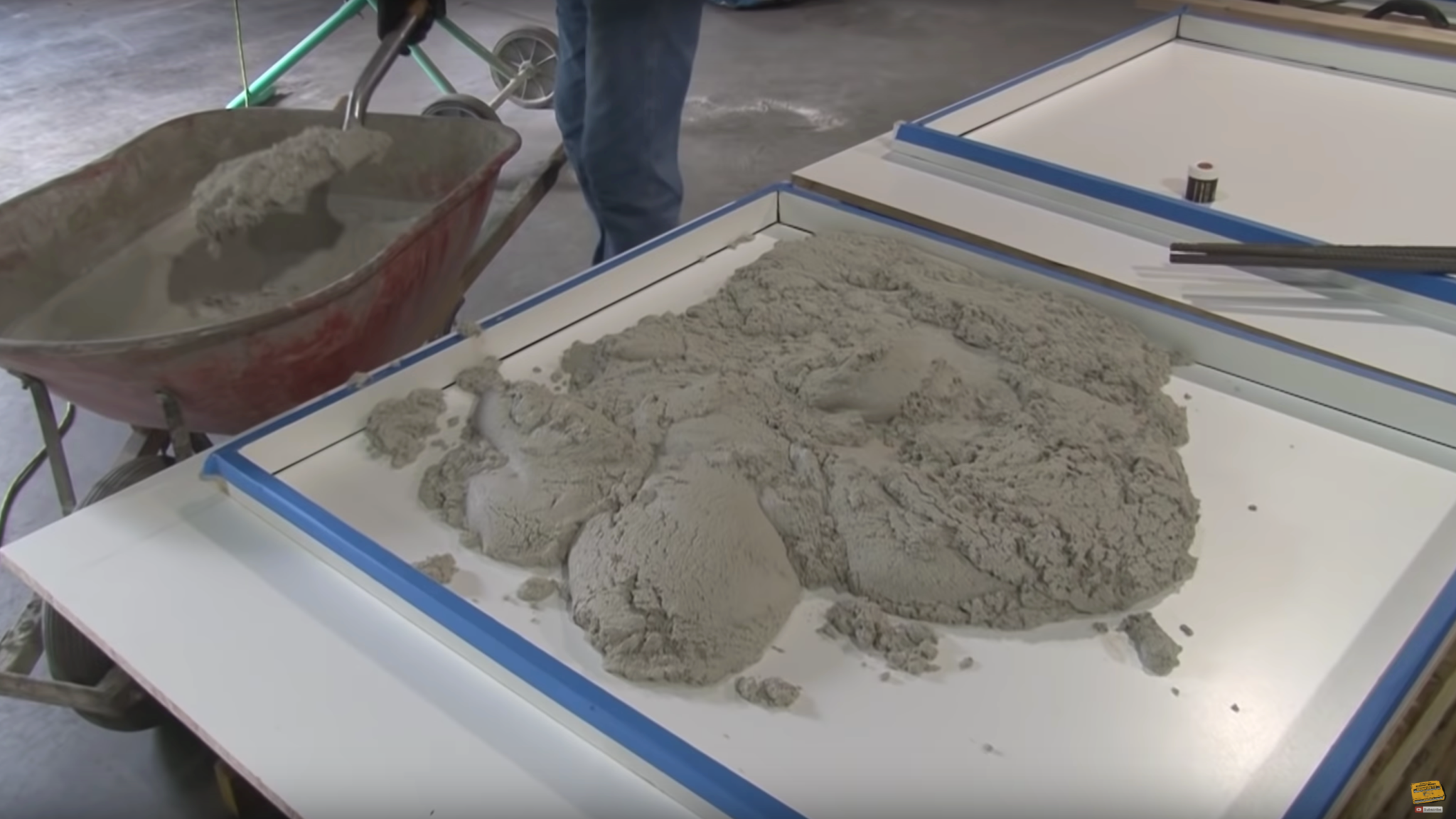 Filling a concrete countertop form