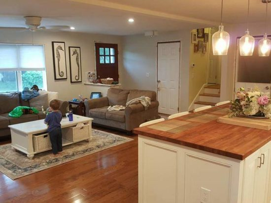 Remodeled kitchen and family room