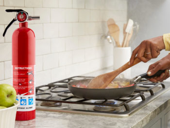 Fire extinguisher in kitchen