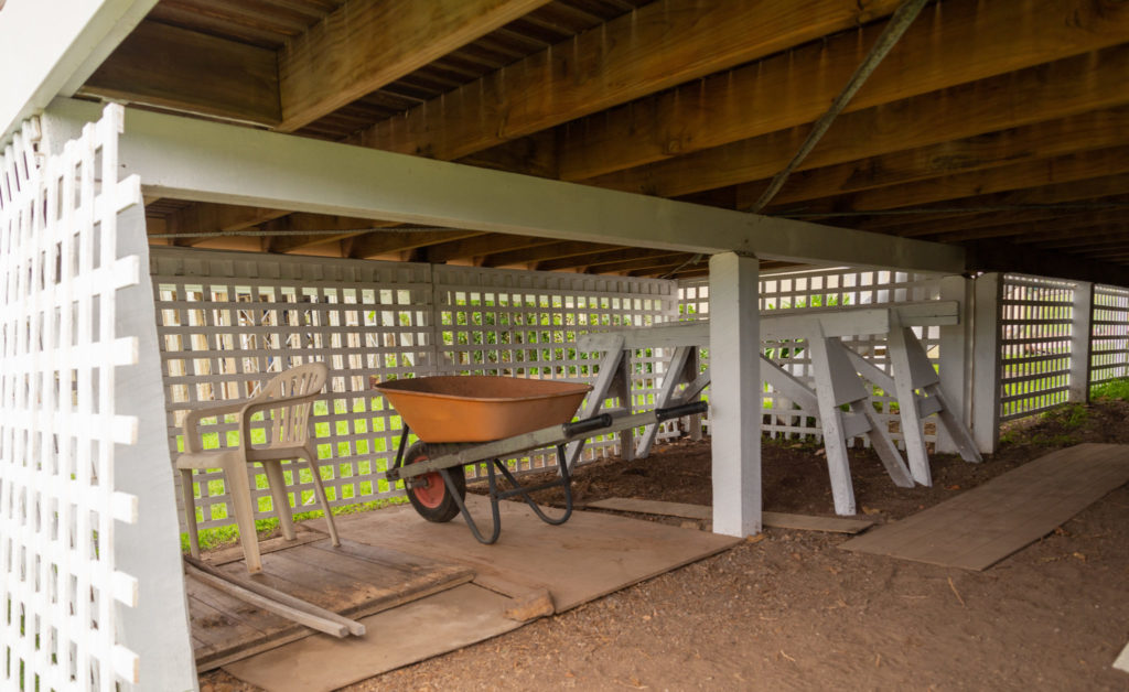 Storage under a deck cover with lattice