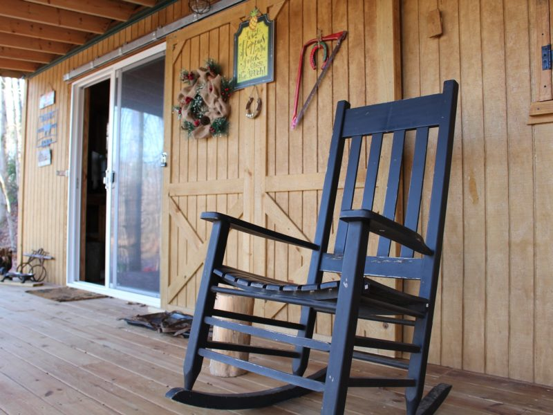 Wooden rocking chair on porch