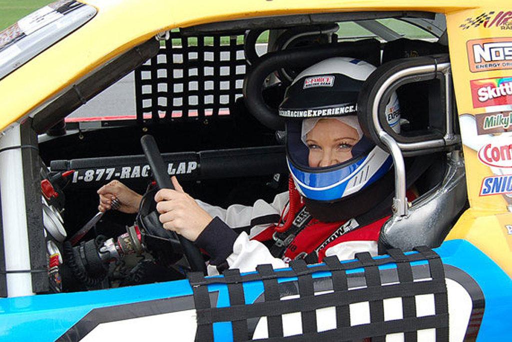 Woman driving a NASCAR