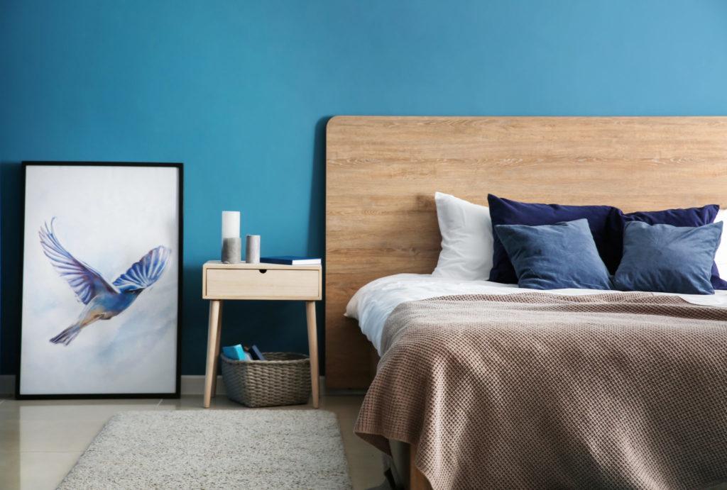 Bedroom painted periwinkle blue