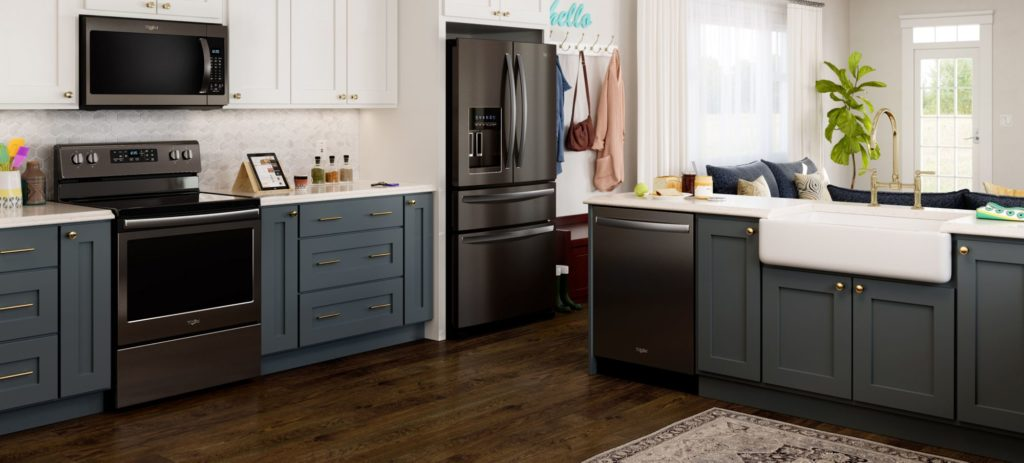 Whirlpool black stainless appliances