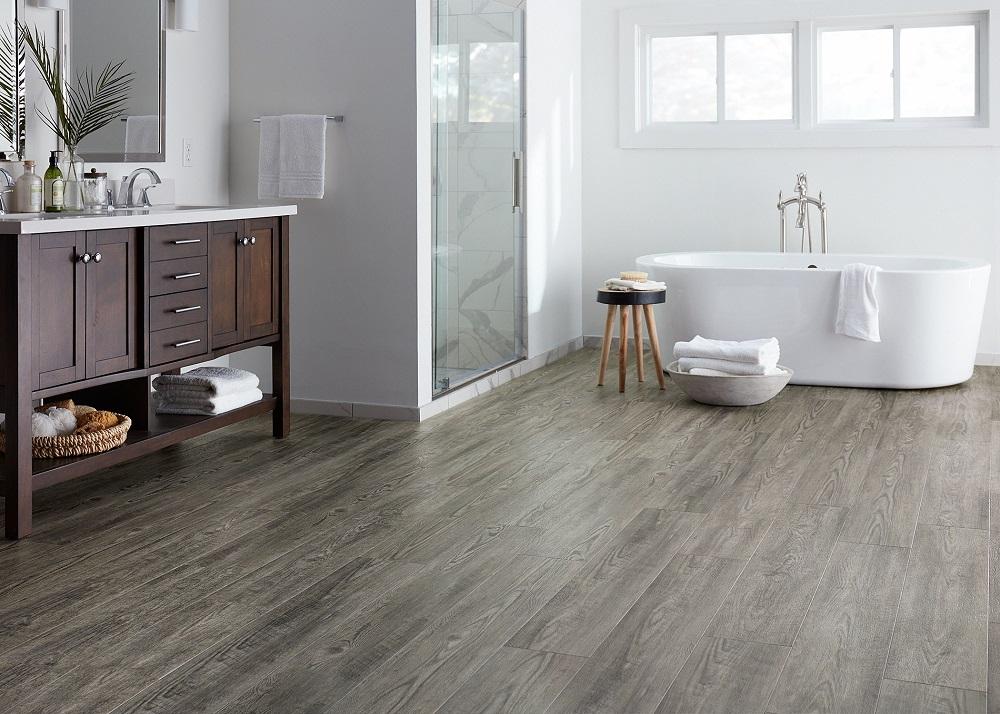 Bathroom floor featuring LL Floore CoreLuxe Rocky Coast Pine Engineered Floor